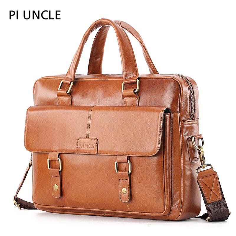 Men's briefcase leisure large capacity Single Shoulder Messenger Bag Leather Handbag leather briefcases men