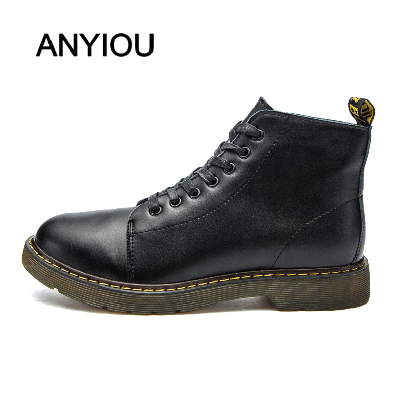 ANYIOU Men's Boots Martin Boots Sneakers Casual Shoes Low-top Leather Shoes Large Mens Shoes Genuine Leather Boots Securities
