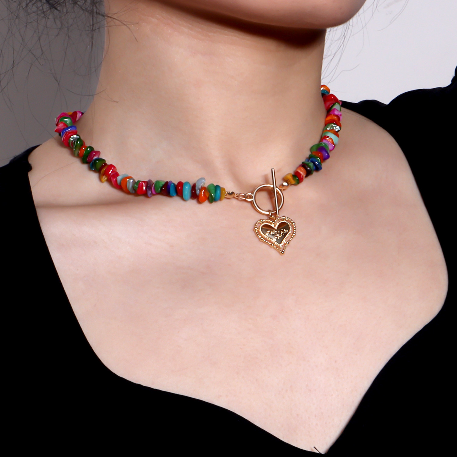 Trendy Natural Stone Chain Necklace Colorful Irregular Stones Heart Pendant Necklace for Women Ot Buckle 2021 Bohemian Jewelry