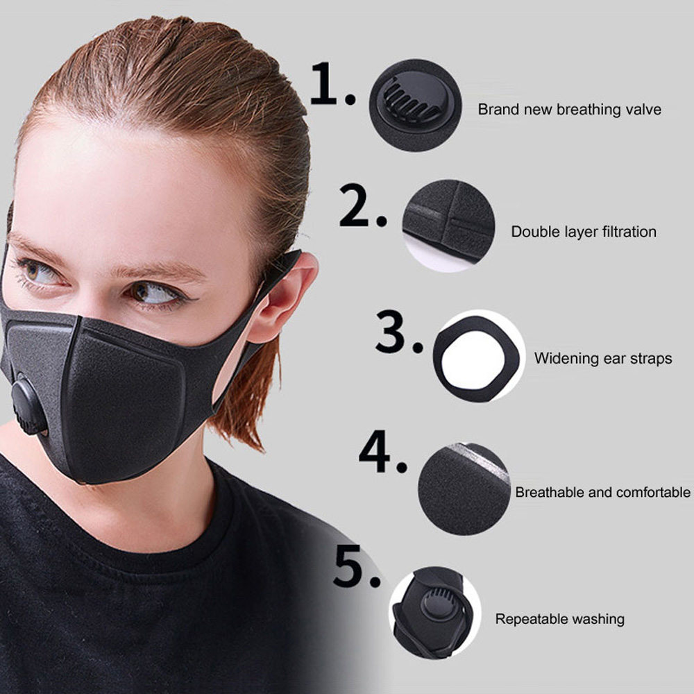 In Stock Filter Mouth Masks Anti Dust PM2.5 Flu Reusable Face Mask Breathable Outdoor Sports Mouth Cover Prepper Q40