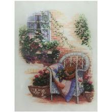 Плетеное кресло перед окном вышивка крестиком 11ct 14ct наборы