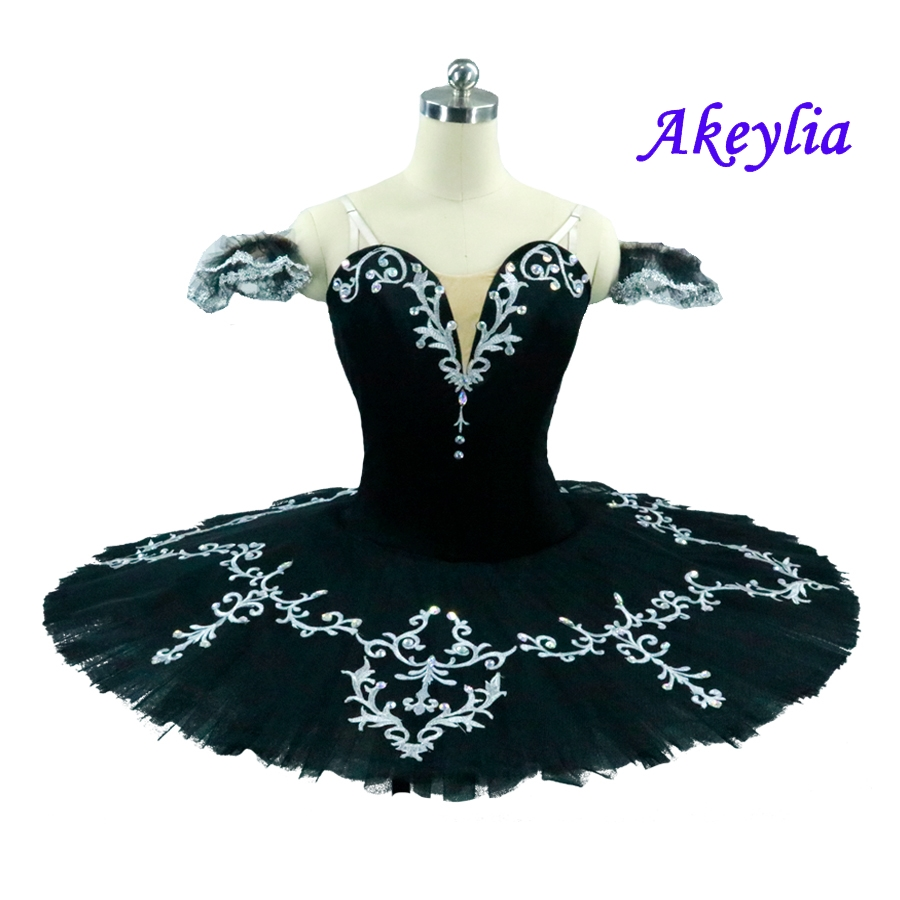Feather Black Swan Lake Adult Professional Tutu Women pancake platter classical ballet tutus ballerina ballet stage costumes