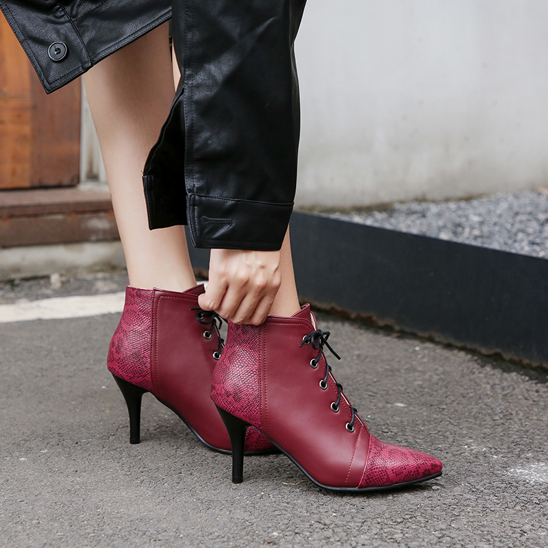 ANMAIRON 2019 Women Shoes PU Lace Up Thigh High Boots Sexy Ankle Boots for Women Pointed Toe Winter Basic Boots Women Size 34 43 in Ankle Boots from Shoes