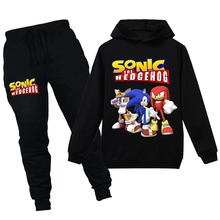 цена на Cotton new child Tracksuit Autumn Clothing Sets Children Boys Girls Sonic The Hedgehog Clothes Kids Hooded T-shirt Pants Suits