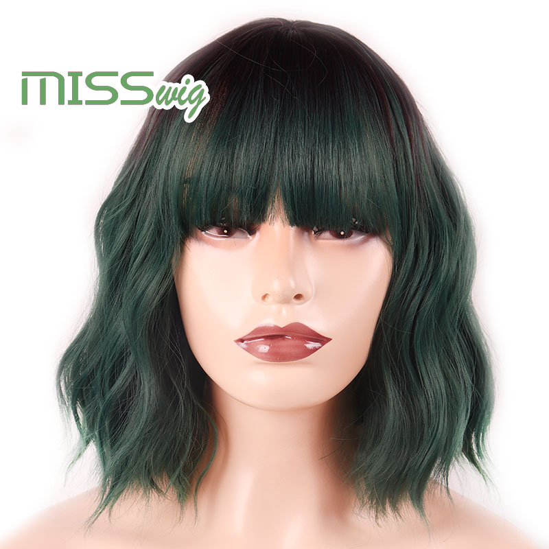 MISS WIG Short Water Wave Synthetic Hair 16Colors  Available Wig For Women Heat Resistant Fiber Daily False Hair