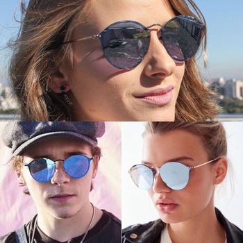 SIMPRECT Retro Round Sunglasses Women 2019 High Quality Metal Mirror Sun Glasses Vintage Brand Designer Lunette De Soleil Femme 1