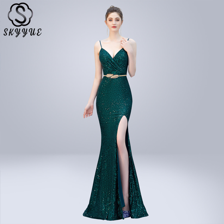 Skyyue Robe De soirée Sexy fronde sans manches Robe De soirée Split femmes robes De soirée 2019 col en v Sequin formelle robes De soirée C278