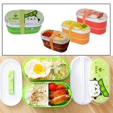 Студенческая герметичная коробка для обеда контейнеры для хранения продуктов милый двухслойная столовая посуда bento box пластиковый мультяшный контейнер для еды
