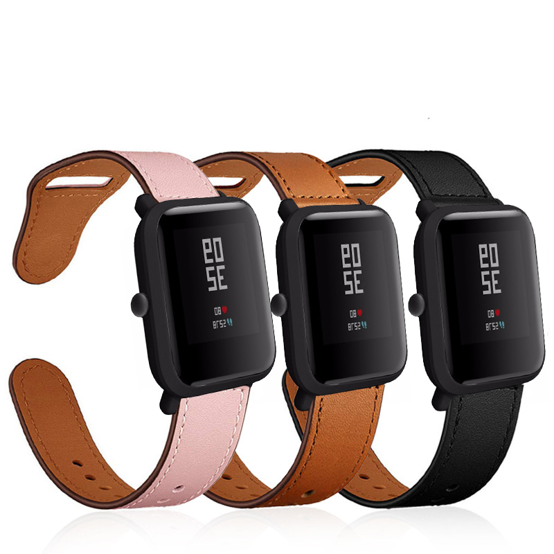 Watchband Genuine Leather Band For Huami Amazfit Bip/GTR 42mm Smart Watch Replacement Bracelet Strap Watchband For Amazfit GTS