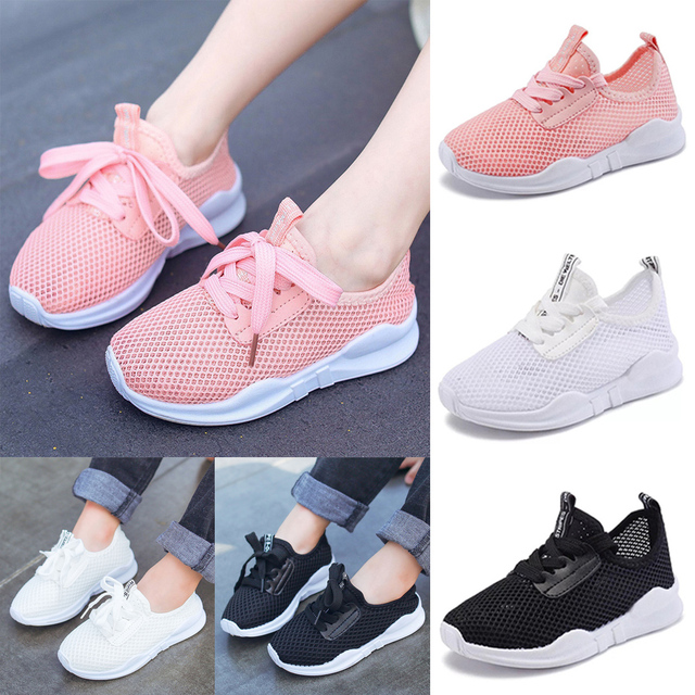 Kids Mesh Breathable Trainers Sneakers Unisex Children Casual Shoes Kids Sport Running Shoes Kids Mesh Shoes Lace Up Solid D30