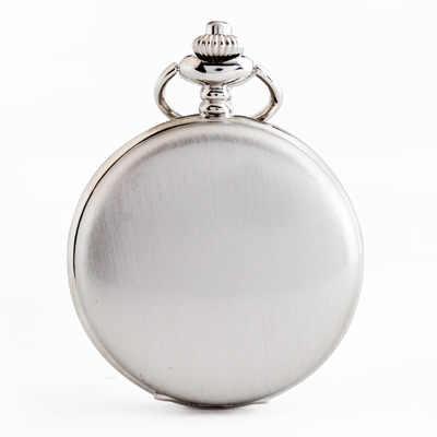 רטרו חלק גברים שחור שעון כיס כסף פולני קוורץ Fob כיס שעונים תליון עם שרשרת