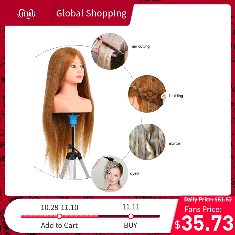100% Nature Human Hair Mannequin Head For Hairstyles Professional Barber Practice Head Styling Tool Dummy Head For Hairdresser