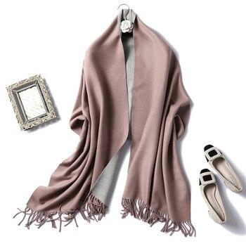 Winter Cashmere Scarf Women Thick Warm Shawls Wraps Lady Solid Scarves Fashion Tassels Pashmina Blanket quality foulard 2020 New 6