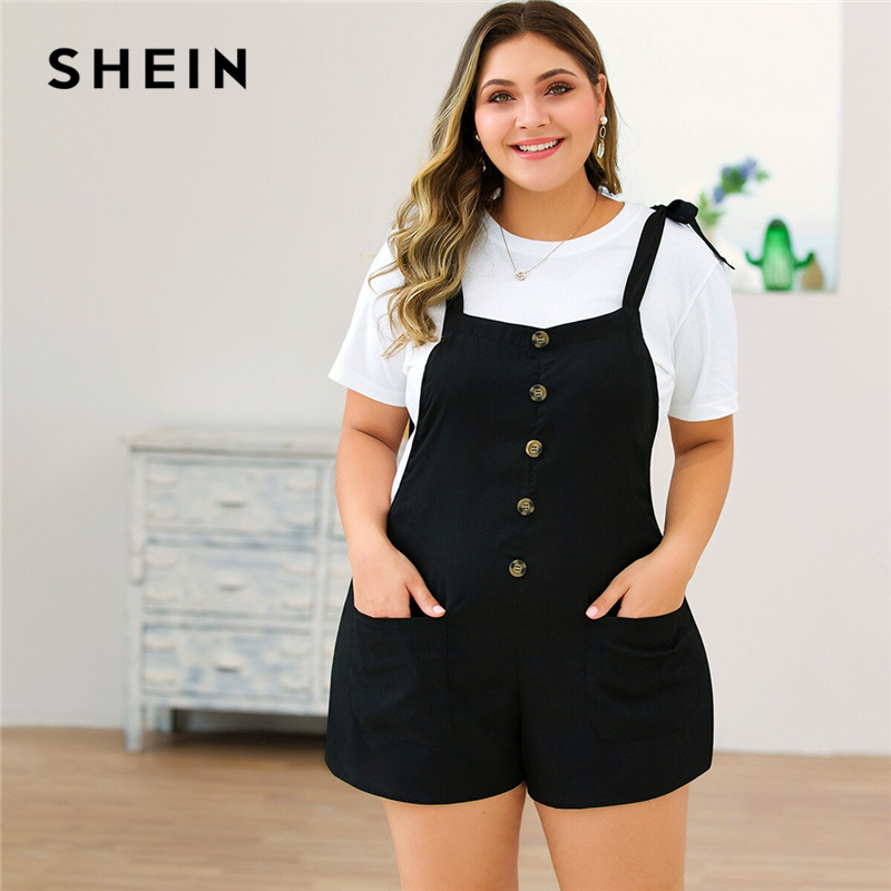 SHEIN Plus Size Black Tie Shoulder Button Front Pocket Detail Romper Women Summer Sleeveless Straps Solid Casual Playsuits