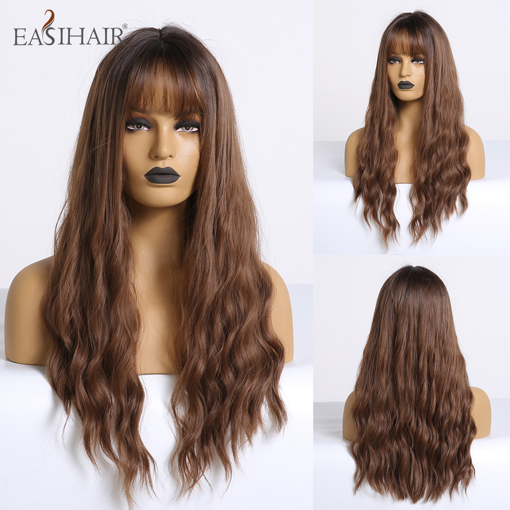 EASIHAIR Brown Omber Long Wave Synthetic Wigs For Women Afro Heat Resistant Hair Cosplay Wigs Heat Resistant