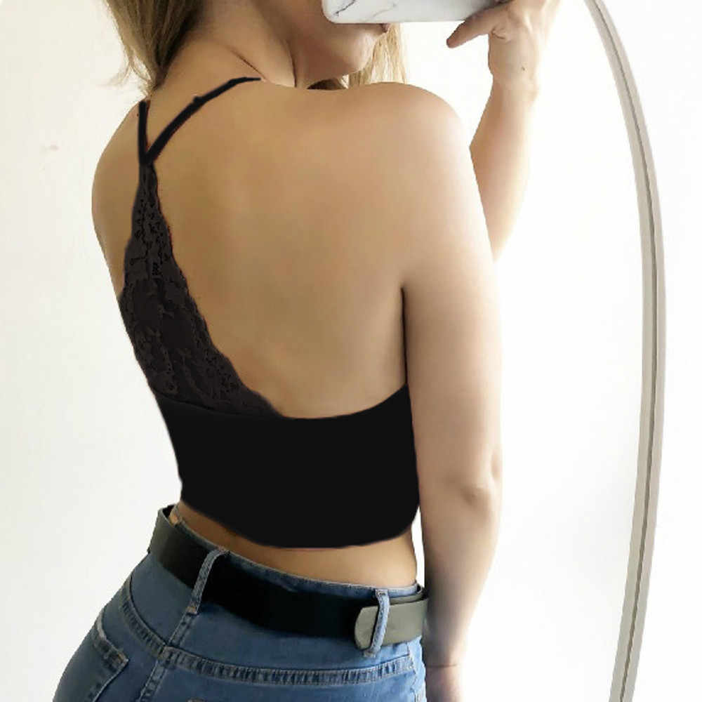Nova moda feminina sexy lingerie feminina strappy camisola sem mangas rendas colheita topos conforto roupa interior mujer