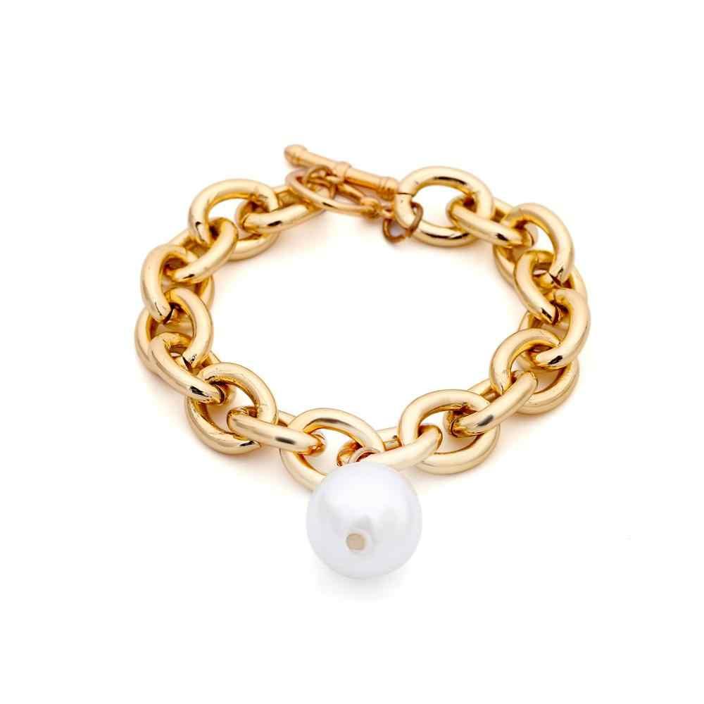 Imixlot Bohemian Imitation Pearl Pendant Bracelet Bangle Women Wedding Accessories Punk Heavy Thick Chain Bracelet