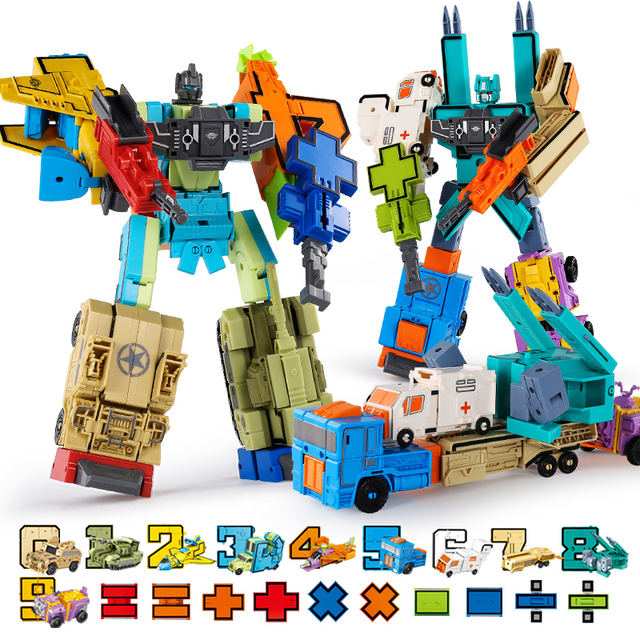 Transform Number Robot Action Figure Dinosaurs Children Toy Blocks Assemble Deformed Toys for Boys 6 to 10 Years Educational 2