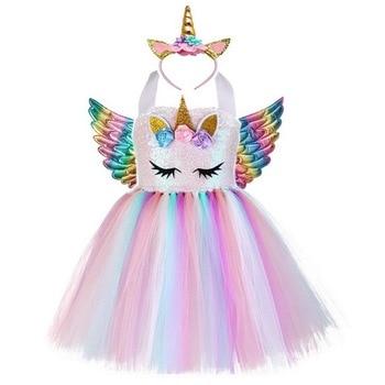 New Kids Unicorn Costumes For Girls Unicorn Tutu Dress With Gold Headband Wings Princess Girls Halloween Party Dress  2-10 Years