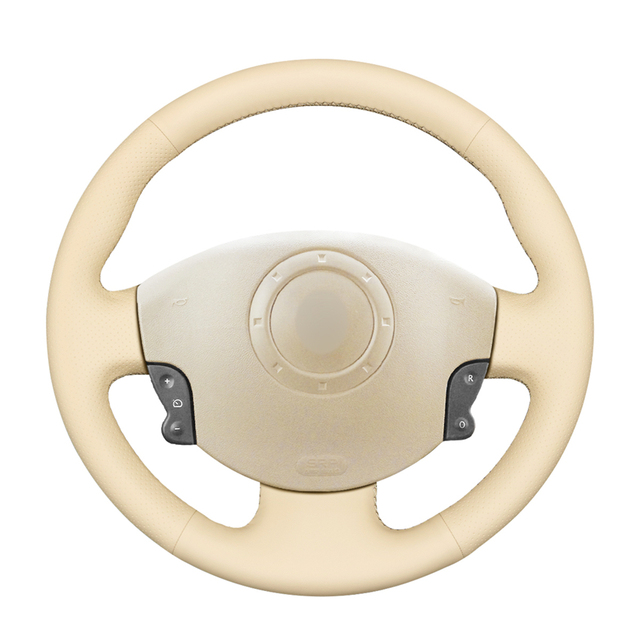 Hand stitched Beige PU Artificial Leather Steering Wheel Covers for Renault Megane 2 Scenic 2 Grand Scenic Kangoo 2 2002 2013