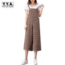 2020 New Arrival Jumpsuit Fashion Korean Plaid Suspenders Women Jumpsuit Slim Fit Ankle-Length Wide Leg Pants Womens Jumpsuit(China)