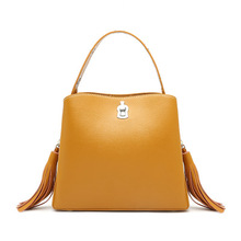 MZORANGE 2019 New Tassels Bucket Bags Womens Genuine Leather Shoulder Bag Wide Strap Ladies Europe Fashion