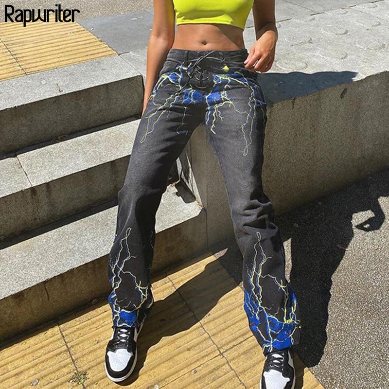 Streetwear Lightning Print High Waist Jeans Women 2020 Fashion Straight Trousers Long Demin Pants Capris Pocket bottom Rapwriter