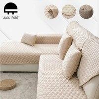 Funda gruesa de felpa para sofá, cubierta suave para sofá, toalla, cojín de Color sólido, funda completa para sofá, sala de estar Decoración Para, fundas antideslizantes