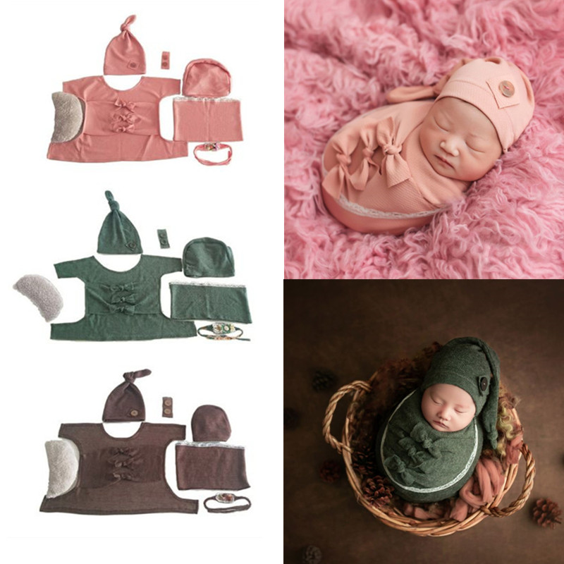 KLV 1Set Baby Soft Wrap Top Knot Hat Headband Pillow Newborn Photo Props Infant Shooting Outfits Costume Set for Boys Girls Gift