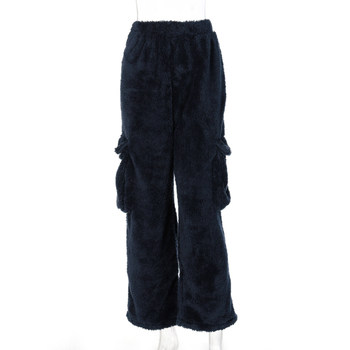 Dulzura lambswool teddy faux fur coat outwear wide leg pants pocket loose oversized streetwear autumn winter matching 7