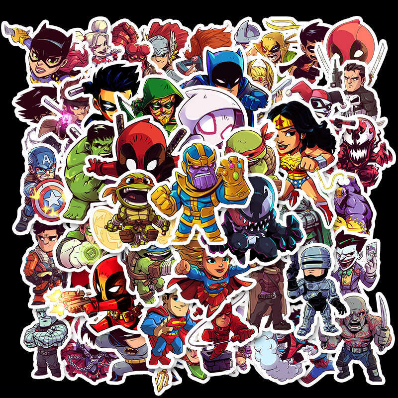 50 Pcs Stickers Marvel Custom Stickers Papelaria  Waterproof Not Repeat The Superhero Stationery Sticker Waterproof TZ051G