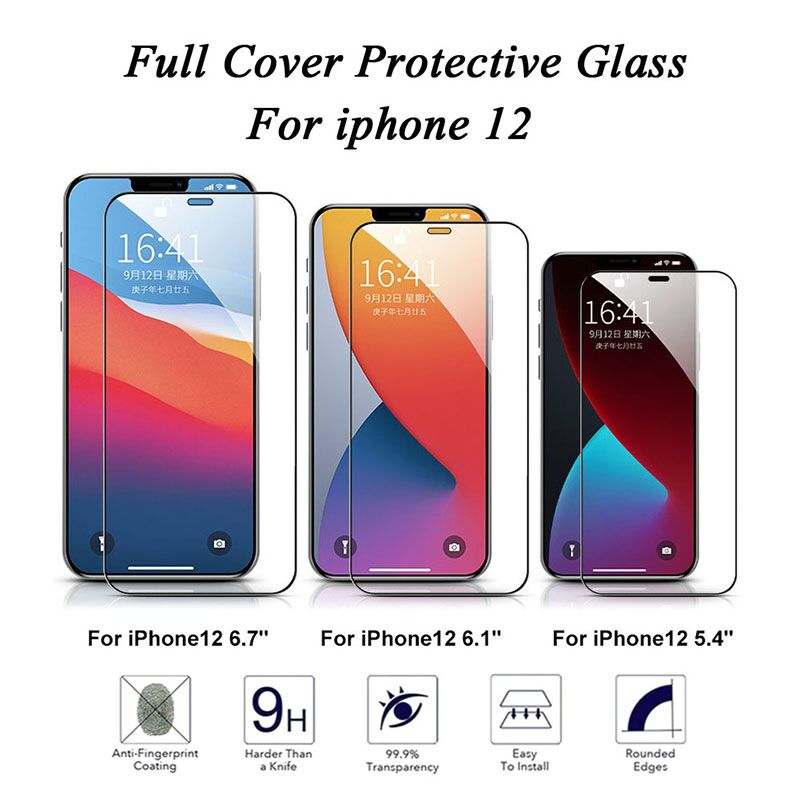 2 Sheets Glass For iPhone 12 12 Pro 12 Max Glass Screen Protector 9HPremium Tempered Glass For iPhone 12 Pro Max Protective Film