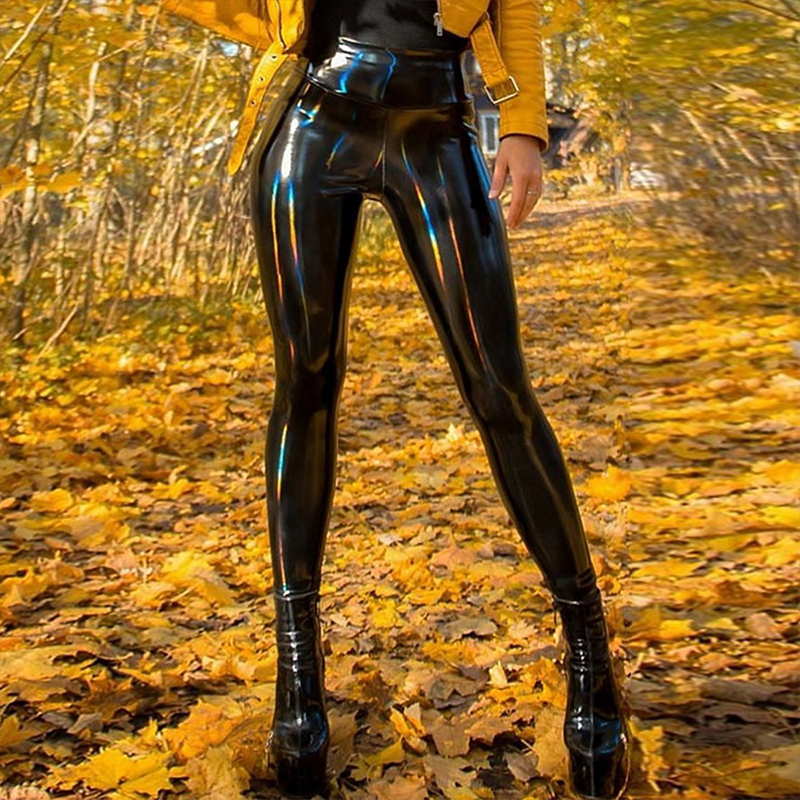 Sexy PU Patent Leather Pants Shiny Leather Pencil Pants Women Black Latex Girls Slim Skinny Trousers Female Soft Warm Legging
