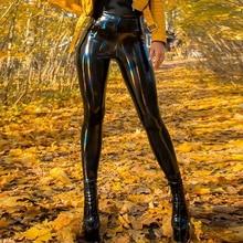 Sexy PU Patent Leather Pants Shiny Leather Pencil Pants Women Black Latex Girls Slim Skinny Trousers Female Soft Warm Legging