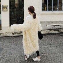 autumn Stylish 4 inches Long Hairy Shaggy Faux Sheep Fur Coat sleeve Outwear Woman Winter keep Warm Mid long Tops