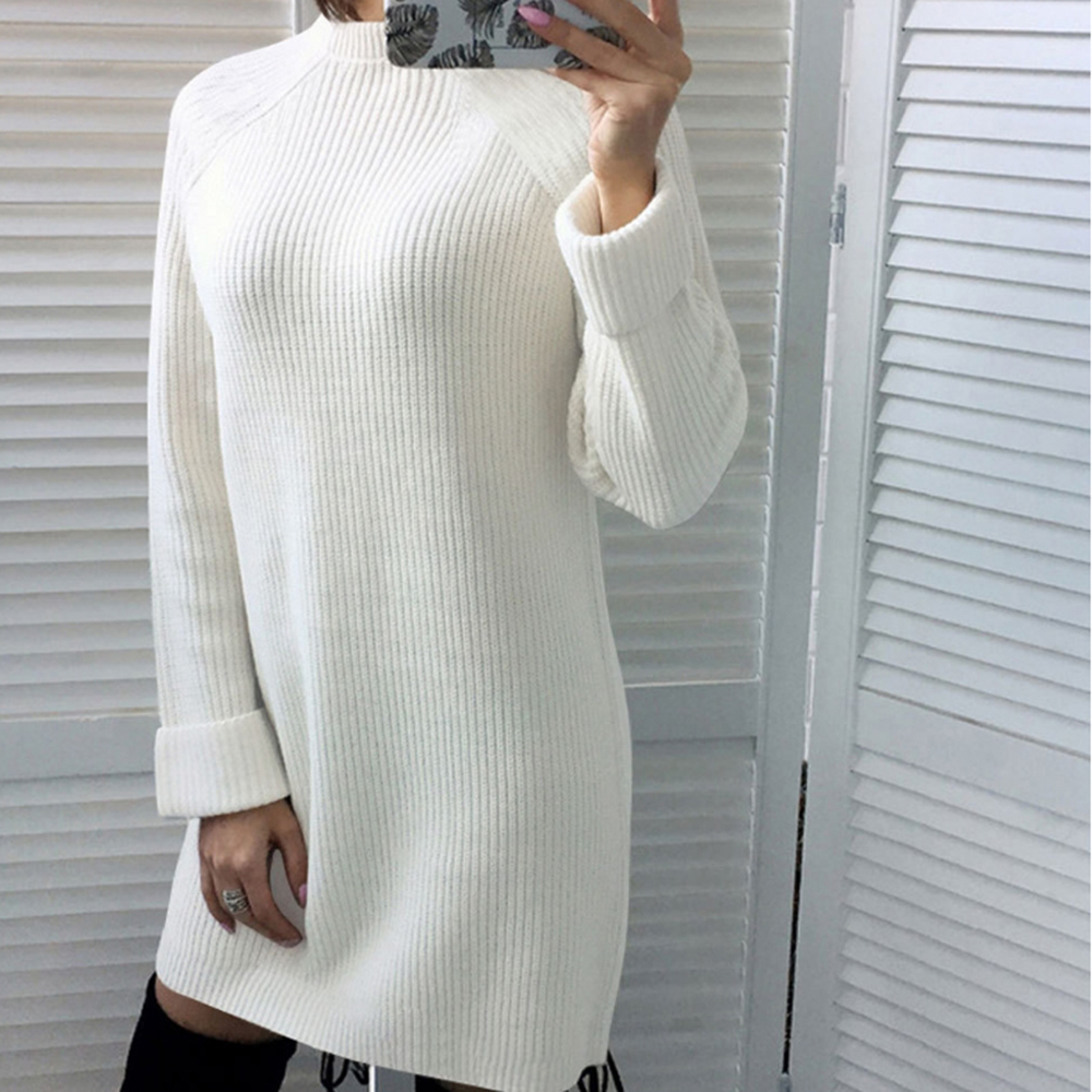 Autumn Solid Knitted Cotton Sweater Dresses Women Fashion Loose O-neck Pullover Female Knitted Dress Vestidos Feminino