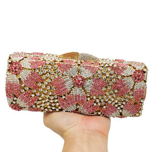 Image 4 - Boutique De FGG Hollow Out Women Crystal Flower Clutch Evening Handbags and Purses Metal Hardcase Floral Wedding Minaudiere Bags