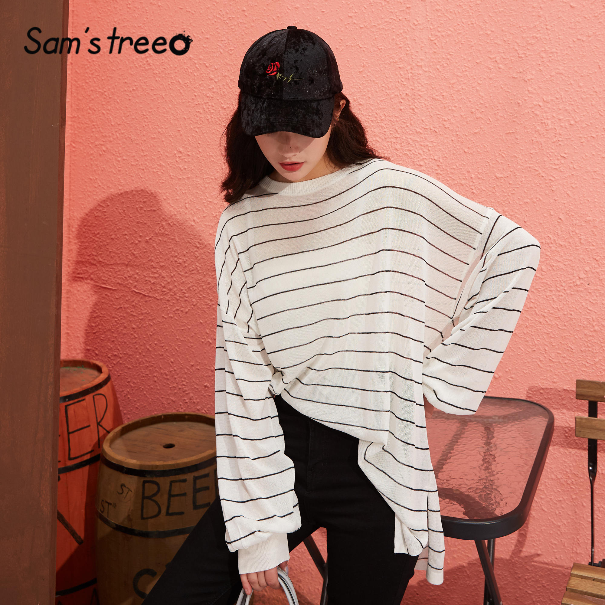 SAM'S TREE Black Striped Loose Casual Jersey Pullover Sweaters Women 2020 Spring White Drop Shoulder Sleeve Korean Ladies Top