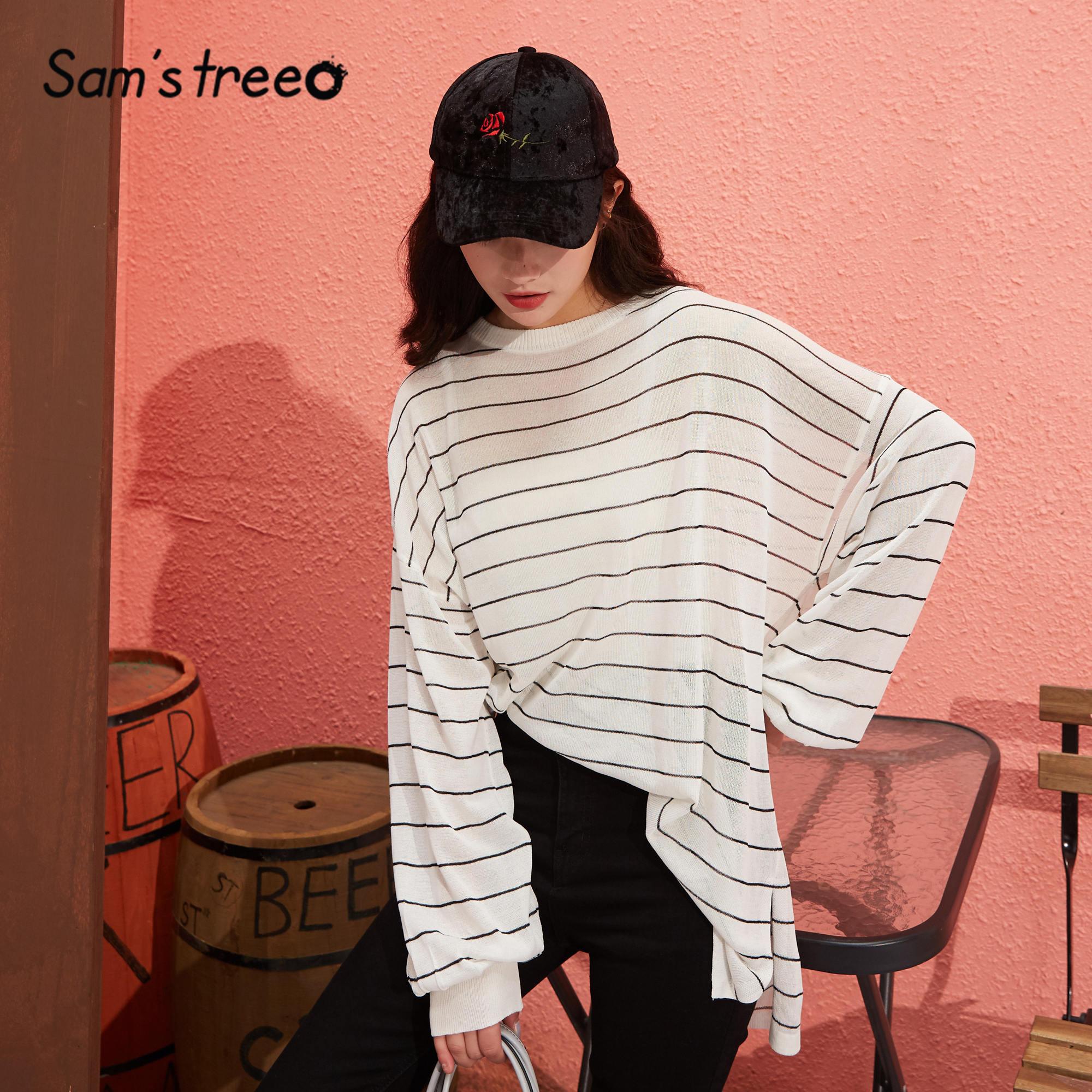 SAM'S TREE Black Striped Loose Casual Jersey Pullover Sweaters Women 2020 Spring White Drop Shoulder Sleeve Korean Ladies Top