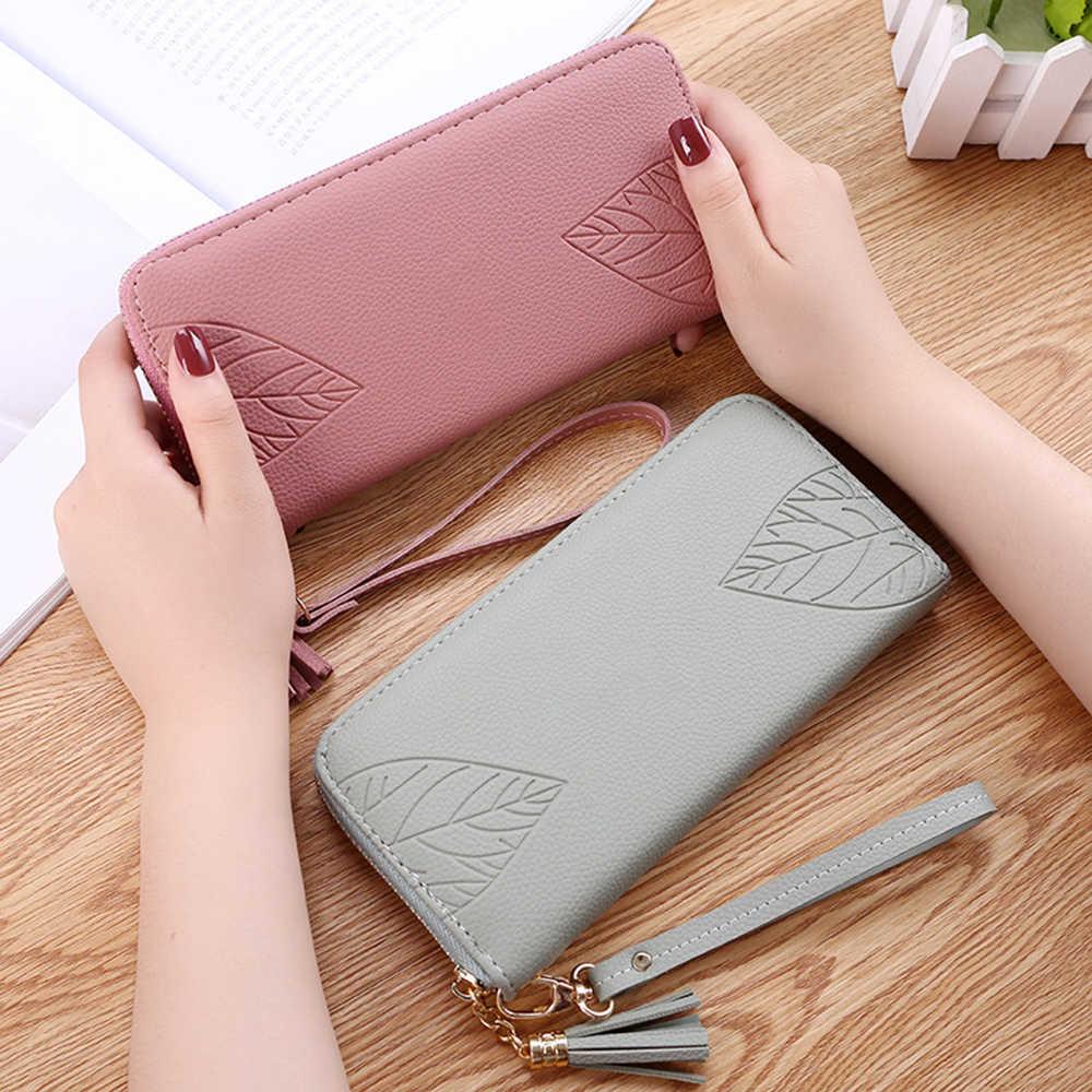 Oferta cartera femenina bolsa de muñeca larga sección hojas multi-funcional estudiante cremallera bolso de mano para regalos de bolsillo de teléfono móvil
