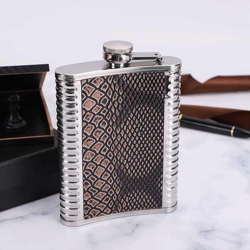 6/7/8/9 Oz Portable Stainless Steel Hip Flask Personalized Outdoor Alcohol Whiskey Silver Bottle Mini Trustworthy Wine Drinkware
