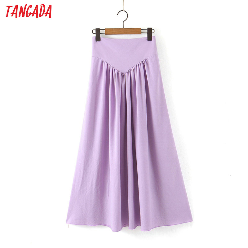 Tangada Women Solid Purple Pleated Long Skirt Faldas Mujer Vintage Side Zipper Office Ladies Elegant Chic Maxi Skirts SL89