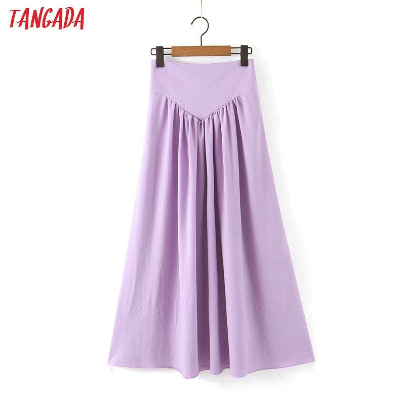 Tangada Women Solid Purple Pleated Long Skirt Faldas Mujer Vintage Side Zipper Office Ladies Elegant Chic Maxi Skirts SL89