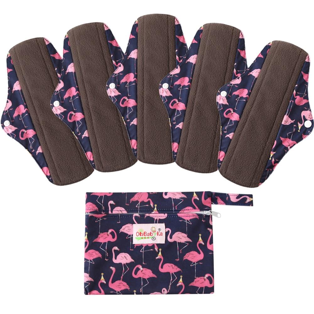 Ohbabyka Washable Bamboo Menstrual Pad Sets Reusable Bamboo Charcoal Sanitary Napkins 5PCS Flow Pads + 1 FREE Waterproof Wet Bag