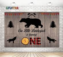 Wild One Lumberjack Photography Backdrop Baby Shower 1st Birthday Party Photo Background Bear Wood Axe Vinyl Photo Booth Prop(China)