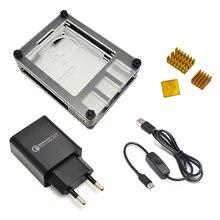 Neue 9 Schichten Fall entwickelt für Raspberry Pi 4 Modell B mit kühlkörper und power linie typ c interface EU Ladegerät Adapter