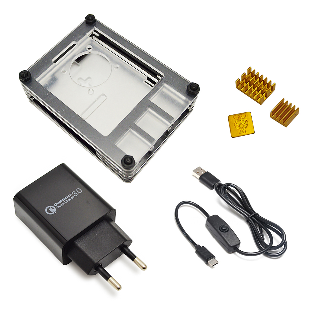 New 9 Layers Case Designed For Raspberry Pi 4 Model B With Heat Sink And Power Line Type-c Interface EU Charger Adapter