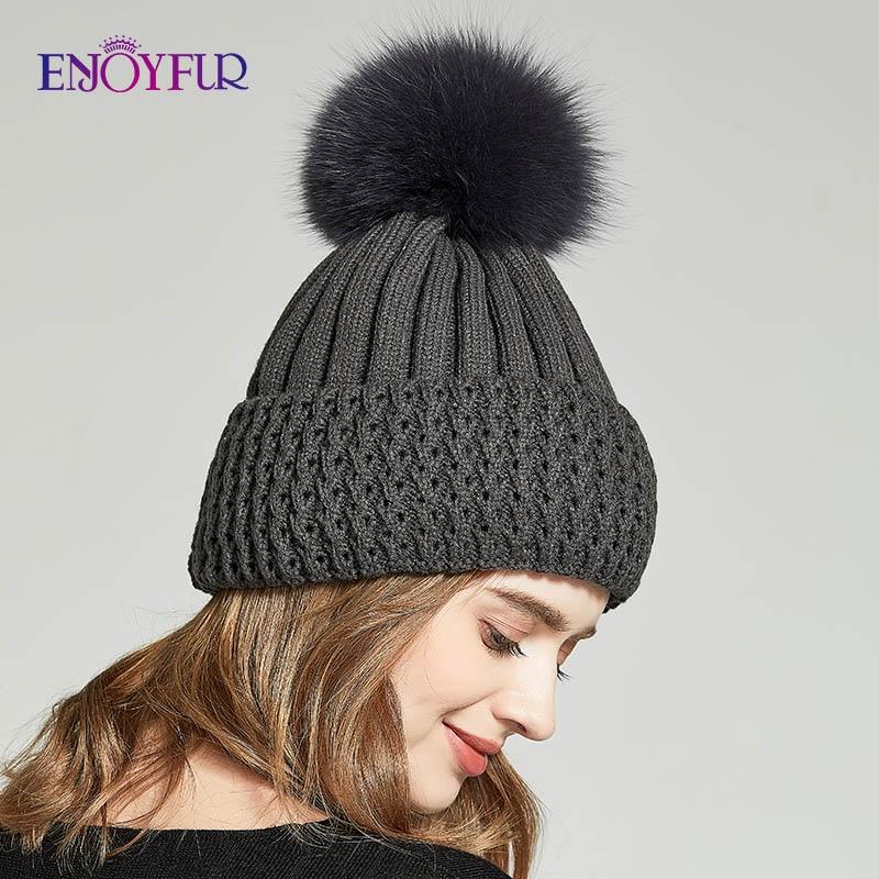 ENJOYFUR  Autumn Winter Hats For Women Real Fox/Raccoon Fur Pompom Caps Fashion Female Beanies