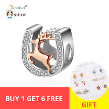 цена StrollGirl New 100%925 Sterling Silver Beads Horseshoe Deer CZ Charm Suitable for Pandora Bracelet Pendant Women Fashion Jewelry