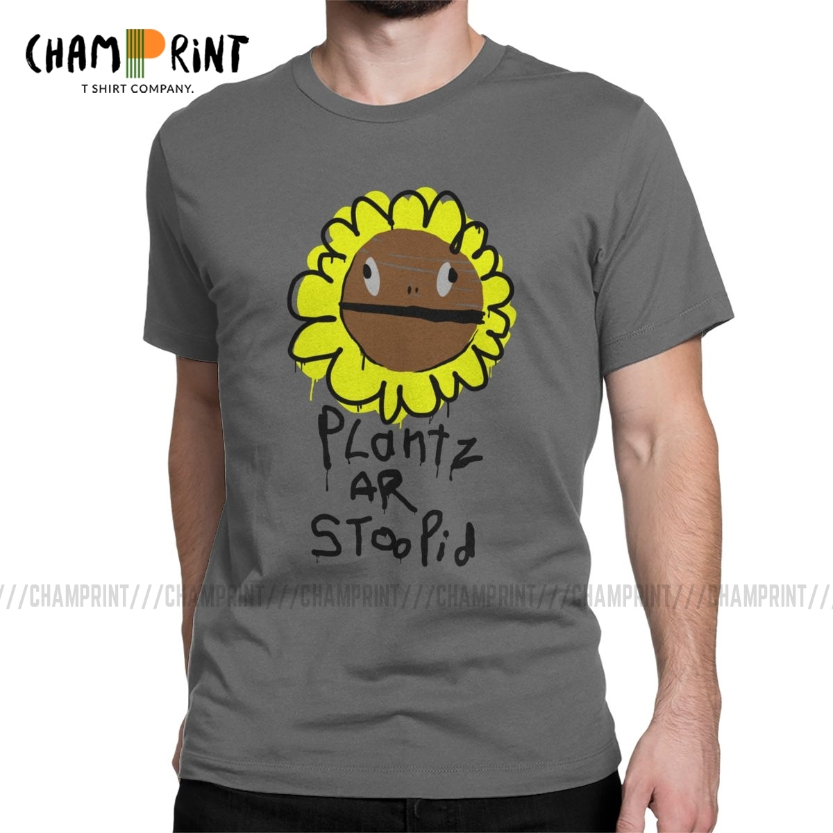 Novelty Plantz <font><b>Ar</b></font> Stoopid T-<font><b>Shirt</b></font> Men Cotton T <font><b>Shirts</b></font> Plants VS Zombies Kids PVZ Game Short Sleeve Tee <font><b>Shirt</b></font> Plus Size Clothing image
